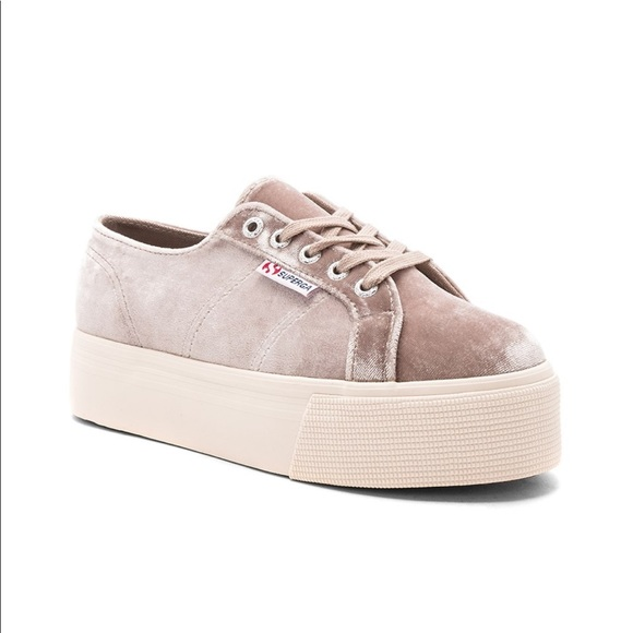 Superga 279 Velvet Platform Sneaker In